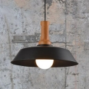 Barn Shade Cloth Shop Pendant Light Metal 1 Light Antique Stylish Suspension Light in Black/White