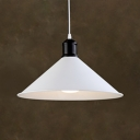 Antique Stylish Cone Shade Pendant Light 1 Head Metal White Finish Suspension Light for Kitchen