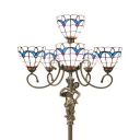 4/6 Heads Floor Lamp Tiffany Antique Art Glass Resin Floor Light in Brass for Dining Room