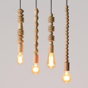1 Head Bare Bulb Pendant Light with Decoration Asian Style Wood Hanging Light in Beige for Cloth Shop