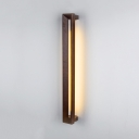 Asian Style Linear Wall Light Wood Brown LED Sconce Light with Warm/White Lighting for Bedroom Mirror