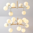 Linear Globe Chandelier Large White Frosted Glass Shade 8/12 Light for Bedroom with Nature Wood