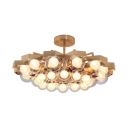 Hotel Villa Flower LED Chandelier Metal 24 Lights Elegant Style Gold Pendant Light with Orb Shade