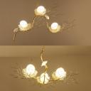 3 Lights Bird&Nest Chandelier Creative Modern Aluminum Suspension Light with Egg for Bedroom