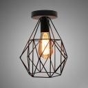 Vintage Wire Frame Ceiling Mount Light Metal Single Light Black Finish Ceiling Lamp for Balcony