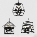 Metal Candle Suspension Light with Cage 3 Lights Colonial Style Pendant Light in Black for Bar