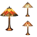 Multi-Color Craftsman Desk Light Two Lights Tiffany Vintage Stained Glass Table Lamp for Bedside Table