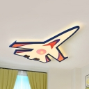 Creative Airplane LED Flush Ceiling Light Acrylic Blue Ceiling Lamp in Warm/White for Child Bedroom