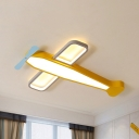 Metal Propeller Airplane Flush Ceiling Light Lovely Stepless Dimming Ceiling Lamp in Yellow for Nursing Room