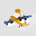 Boys Bedroom Airplane Suspension Light Metal 4 Lights Contemporary Kids Yellow Ceiling Fixture