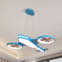 Blue/Green Propeller Airplane Hanging Light Creative Acrylic Stepless Dimming/White Lighting Pendant Light for Teen