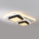 Living Room 2-Square Flush Ceiling Light Acrylic Contemporary Black Ceiling Lamp with Warm/White Lighting