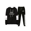 Stylish Letter NOT TODAY Pattern Long Sleeve Hoodie Casual Sweatpants Sport Loose Two-Piece Set
