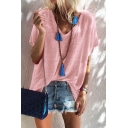 Summer Simple Plain V-Neck Short Sleeve Casual Loose T-Shirt for Women