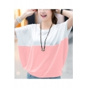 Summer Trendy Color Block Batwing Sleeve Loose Casual T-Shirt