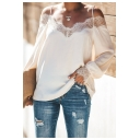 Chic Eyelash Lace Trimmed Cold Shoulder Straps Long Sleeve Casual Chiffon Top