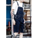 Summer Casual Plain Fashion Denim Rompers Overalls Shorts for Guys