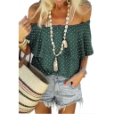 Summer Trendy Polka Dot Printed Off the Shoulder Casual Loose Blouse Top