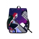 Hot Fashion Cosplay Figure Printed Galaxy Purple Large Capacity School Backpack 32*44 CM