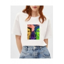 Popular Figure Colorful Painting Basic Round Neck Short Sleeve White T-Shirt