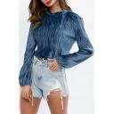Womens Chic Simple Plain Cowl Neck Long Sleeve Blue Fitted Velvet T-Shirt