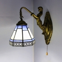 Bedroom Mermaid Wall Sconce with Pull Chain Stained Glass 1 Light Tiffany Style Wall Light