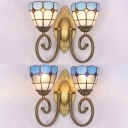 2 Lights Dome Sconce Light Mediterranean Style Clear/White Glass Wall Light for Living Room