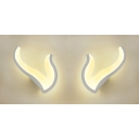 Kid Bedroom V Shape Wall Light Acrylic Contemporary White LED Wall Sconce in Warm