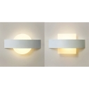 Acrylic Circle/Square Wall Lamp Bedroom Hallway Simple Style White LED Sconce Light in Warm