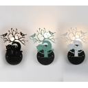Metal Sika Deer Bird Wall Sconce Living Room Bedroom Creative Sconce Lamp in Black/Green/White