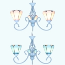 3 Lights Cone Chandelier Tiffany Style Glass Hanging Lamp in Blue/White for Dining Room Hotel