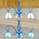 Glass Cone Hanging Light 3 Lights Tiffany Style Chandelier Light in Blue/White for Hallway