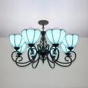 Glass Domed Shade Chandelier 8 Lights Traditional Ceiling Light in Blue for Living Room Restaurant