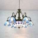 Vintage Style Dome Cone Chandelier 7 Lights Stained Glass Hanging Lamp for Living Room Villa