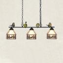 Rustic Deer Hanging Light with Bird Decoration 3 Lights Metal Linear Chandelier for Balcony