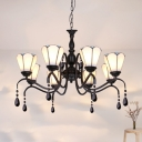 Tiffany Style White Chandelier Cone Shade 8 Lights Glass Metal Suspension Light with Crystal for Villa
