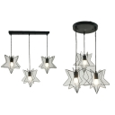 Industrial Star Wire Hanging Lamp with Linear/Round Canopy Metal 3 Lights Black Hanging Light for Bar
