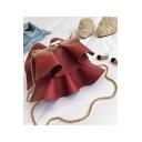 Fashion Elegant Plain Ruffle Design Crossbody Clutch Handbag 19*9*17 CM