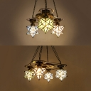 Foyer Hallway Star Shade Chandelier Stained Glass 3/4 Lights Vintage Style Pendant Lighting