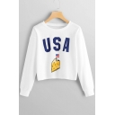 Hot USA Letter American Flag Cheese Print Round Neck Long Sleeve White Cropped Sweatshirt
