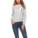 New Stylish Pineapple Print One Pocket Chest Round Neck Long Sleeve Gray Sweatshirt