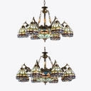 Tiffany Style Dome Shade Chandelier Stained Glass Hanging Light for Living Room Villa