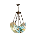 Blue Boat Shape Pendant Light 2 Lights Tiffany Style Nautical Hanging Lamp for Bedroom Bathroom