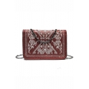 Chic Embroidered Sequin Square Crossbody Bag with Chain Strap 19*7*13 CM