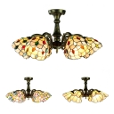 Antique Leaf/Peacock Tail/Flower Semi Ceiling Mount Light 6 Lights Glass Ceiling Fixture for Restaurant