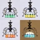 Tiffany Style Antique Pendant Light 1 Light Glass Suspension Light in Blue/Green/Orange/Yellow for Shop