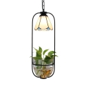 White Cone Pendant Light 1 Light Tiffany Style Glass Hanging Lamp for Dining Room