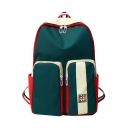 Unisex Trendy Color Block Letter Print Large Capacity School Backpack with Pockets 31*12*45 CM