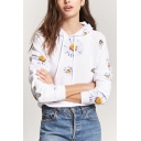 Women's New Stylish Floral Print Drawstring Hood Long Sleeve Cropped Hoodie