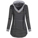 Hot Fashion Women's Stripe Print V-Neck Button Detail Drawstring Hood Long Sleeve Black Longline Hoodie